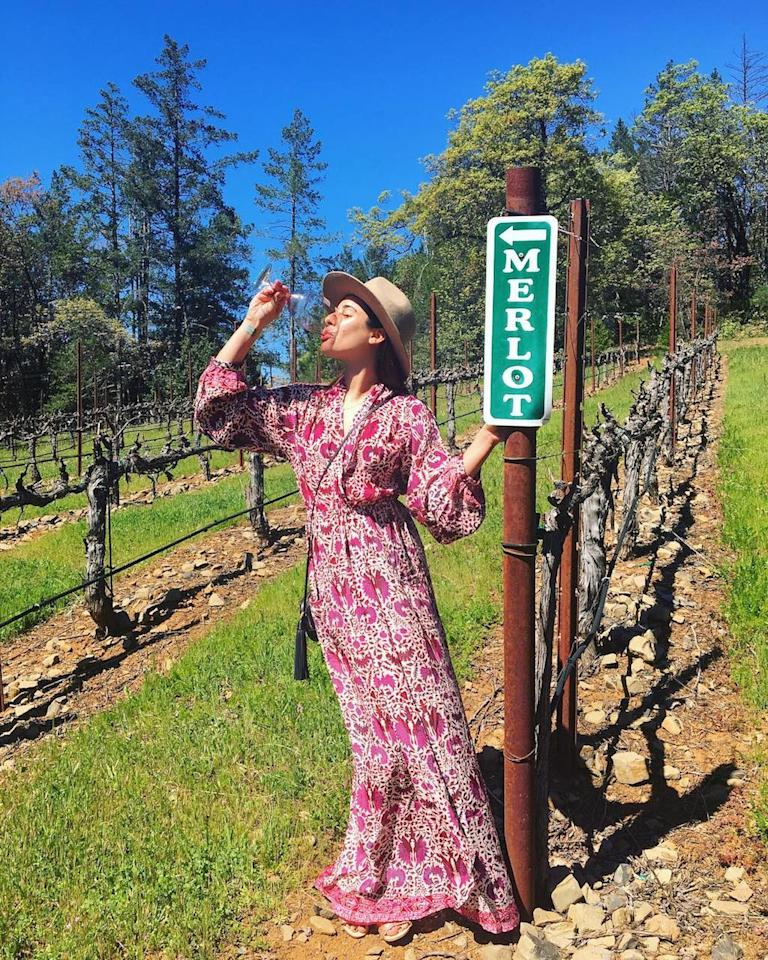 """<p>All roads point to Merlot. """"Sunday funday in NAPA,"""" the <i>Glee</i> alum shared on Instagram. (Photo: <a rel=""""nofollow"""" href=""""https://www.instagram.com/p/BST_H3ag0Cz"""">Lea Michele via Instagram</a>) </p>"""