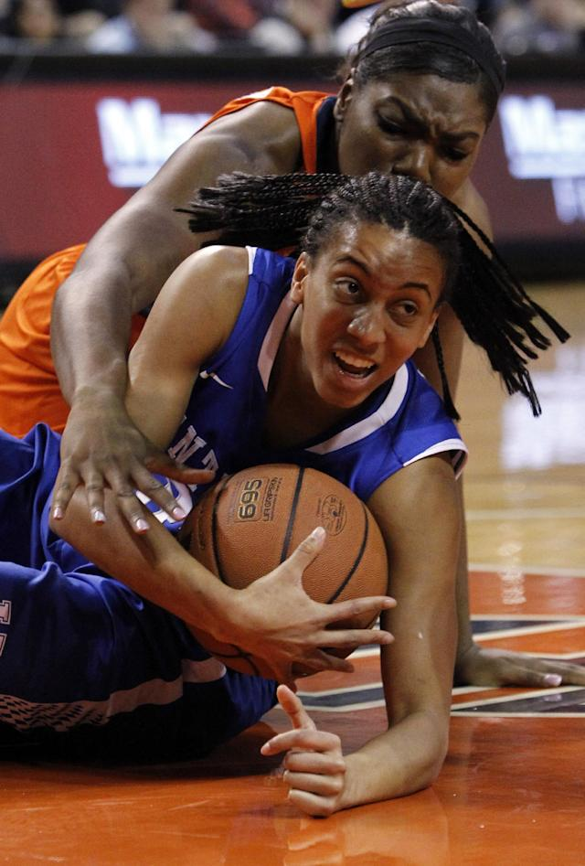 Kentucky's Kastine Evans (32) and Auburn's Tra'Cee Tanner (44) fight for the loose ball during the first half of an NCAA women's college basketball game on Sunday, Jan. 19, 2014, in Auburn, Ala. (AP Photo/Butch Dill)