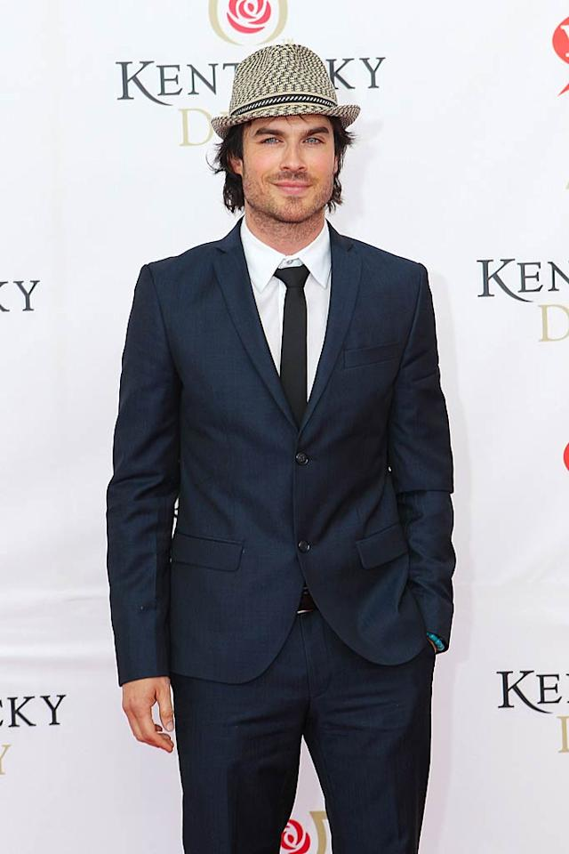"""Vampire Diaries"" hottie Ian Somerhalder sported a dapper fedora for the horse race. Michael Hickey/<a href=""http://www.wireimage.com"" target=""new"">WireImage.com</a> - May 7, 2011"