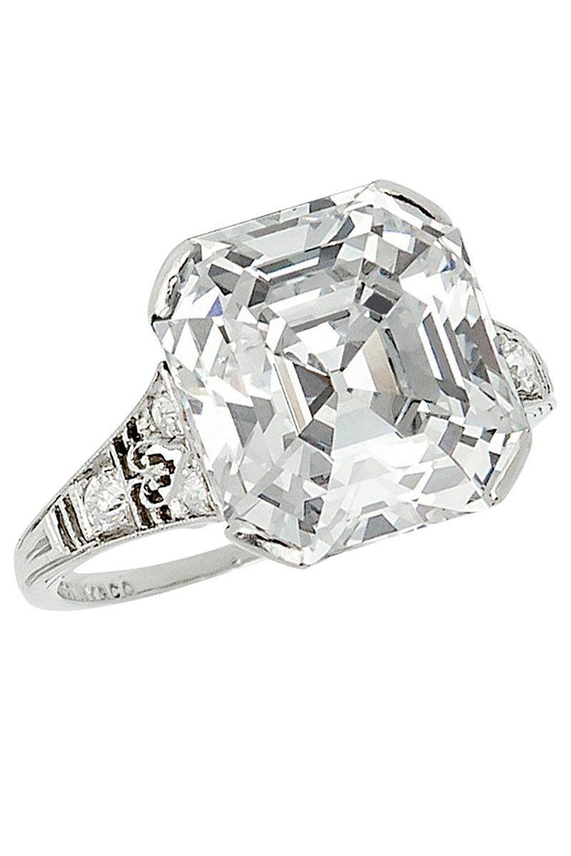 "<p><em><strong>Stephen Russell</strong> Tiffany & Co. Asscher Cut Diamond Ring, circa 1925, price upon request, <a href=""https://www.1stdibs.com/jewelry/rings/engagement-rings/tiffany-co-731ct-asscher-cut-diamond-ring-d-color-vvs2-type-iia-circa-1925/id-j_10013402/"" rel=""nofollow noopener"" target=""_blank"" data-ylk=""slk:1stdibs.com"" class=""link rapid-noclick-resp"">1stdibs.com</a></em></p><p><a class=""link rapid-noclick-resp"" href=""https://go.redirectingat.com?id=74968X1596630&url=https%3A%2F%2Fwww.1stdibs.com%2Fjewelry%2Frings%2Fengagement-rings%2Ftiffany-co-731ct-asscher-cut-diamond-ring-d-color-vvs2-type-iia-circa-1925%2Fid-j_10013402%2F&sref=https%3A%2F%2Fwww.harpersbazaar.com%2Fwedding%2Fbridal-fashion%2Fg7427%2Fvintage-engagement-rings%2F"" rel=""nofollow noopener"" target=""_blank"" data-ylk=""slk:SHOP"">SHOP</a></p>"