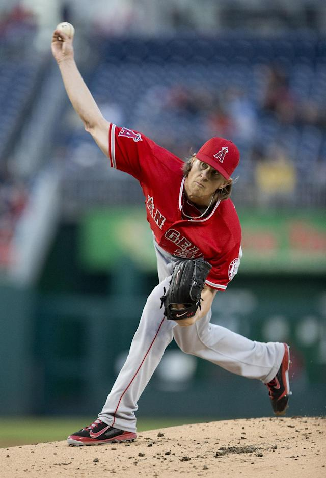 Los Angeles Angels starting pitcher Jered Weaver delivers against the Washington Nationals during the first inning of a baseball game, Wednesday, April 23, 2014, in Washington. (AP Photo/Pablo Martinez Monsivais)