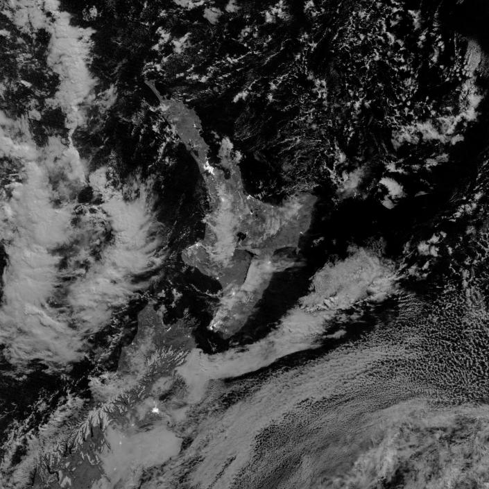 """This image of Mount Tongariro as it appeared at 12:55 a.m. New Zealand time on August 7, 2012 (12:55 p.m. Universal Time on August 6). The image was acquired by the Visible Infrared Imaging Radiometer Suite (VIIRS) on Suomi NPP, which includes a """"day-night band"""" that can detect volcanic ash plumes lit by moonlight alone. (VIIRS also can detect the visible light emitted by pyroclastic flows and fires, though they are not visible in this particular image.) (NASA)"""