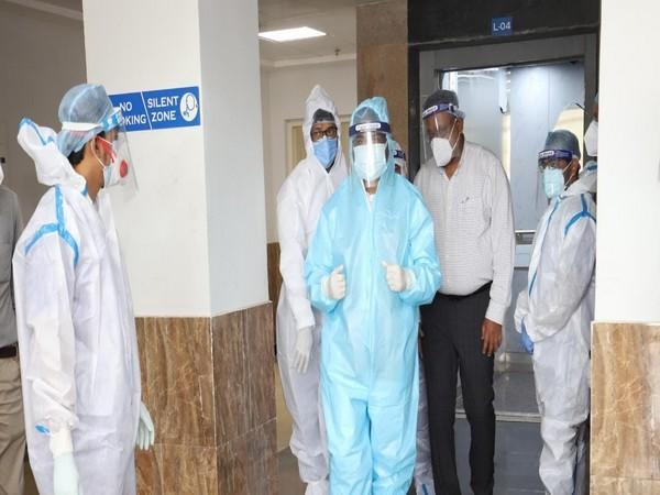 Union Minister Dharmendra Pradhan in PPE suit during his visit to ESI Hospital (Photo/ANI)