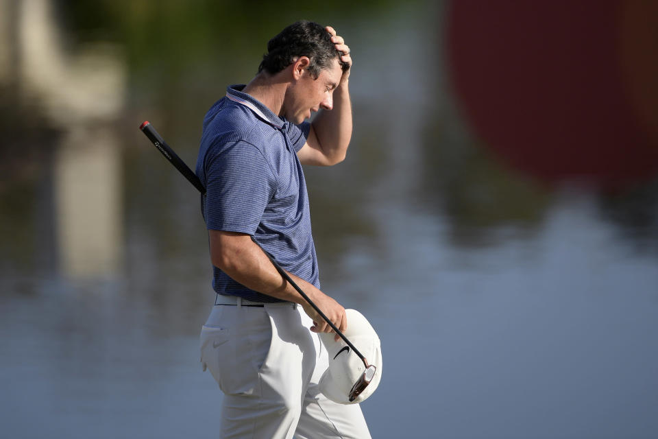 Rory McIlroy, of Northern Ireland, walks off the 18th green after finishing the final round of the Arnold Palmer Invitational golf tournament Sunday, March 10, 2019, in Orlando, Fla. (AP Photo/Phelan M. Ebenhack)