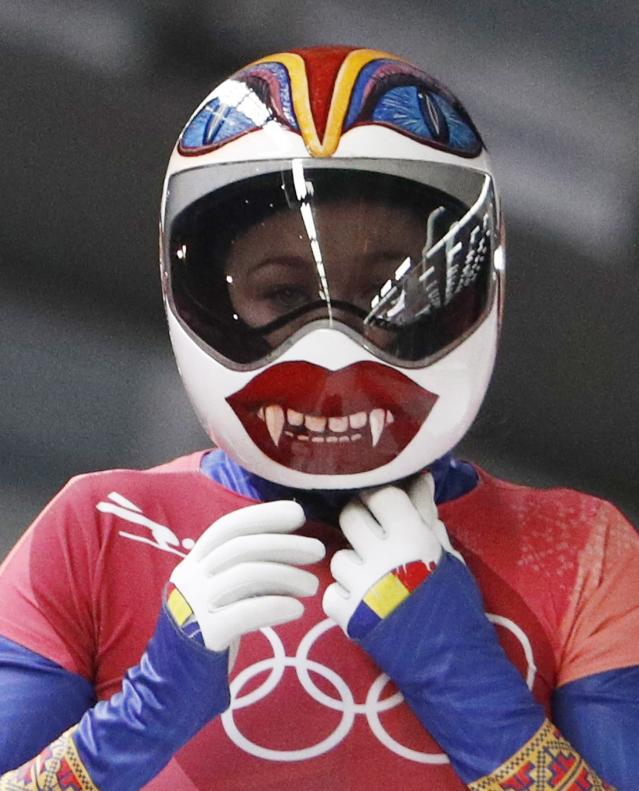 Pyeongchang 2018 Winter Olympics Skeleton - Pyeongchang 2018 Winter Olympics - Women's Finals - Olympic Sliding Centre - Pyeongchang, South Korea - February 17, 2018 - Maria Marinela Mazilu of Romania reacts. REUTERS/Edgar Su