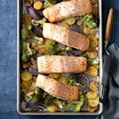 """<p>A bed of broccoli and potatoes allows the oven's hot air to evenly roast all sides of your salmon fillets (translation: <em>So</em> much faster!).</p><p><a href=""""https://www.goodhousekeeping.com/food-recipes/a12151/roasted-salmon-crispy-potatoes-broccoli-recipe-wdy0115/"""" rel=""""nofollow noopener"""" target=""""_blank"""" data-ylk=""""slk:Get the recipe for Roasted Salmon With Crispy Potatoes and Broccoli »"""" class=""""link rapid-noclick-resp""""><em>Get the recipe for Roasted Salmon With Crispy Potatoes and Broccoli »</em></a></p>"""