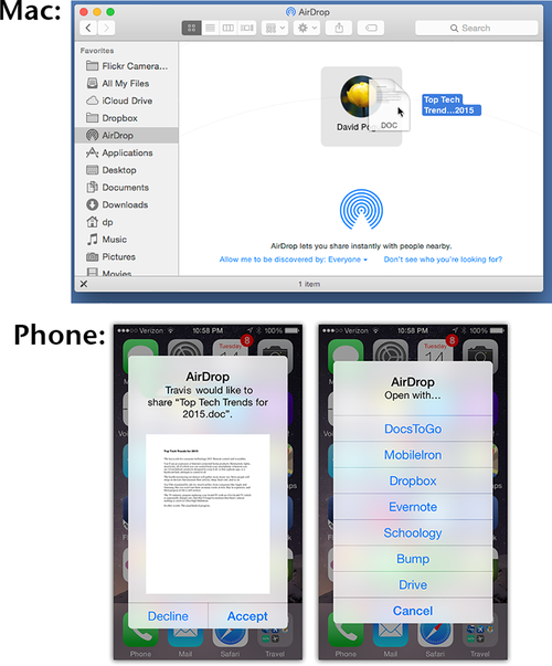 Updated AirDrop feature on Mac and iPhone