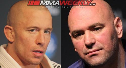 Dana White [R] says that the UFC's medical insurance will cover Georges St. Pierre's knee surgery. (MMA Weekly)