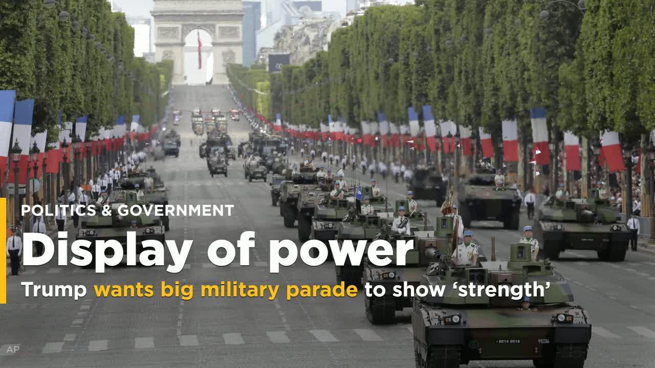 President Trump announced Monday that he wants to showcase America's military power with an Independence Day parade of martial assets down Pennsylvania Avenue, inspired by the two-hour display he witnessed in Paris on Bastille Day.