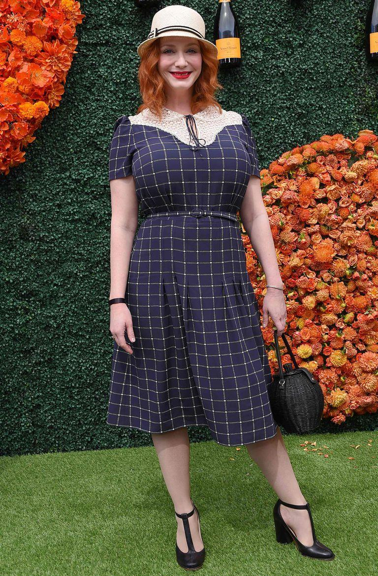British/US actress Christina Hendricks arrives for the Veuve Clicquot Polo Classic 2021 at Will Rogers State Park in Pacific Palisades, California, on October 2, 2021. (Photo by LISA O'CONNOR / AFP)