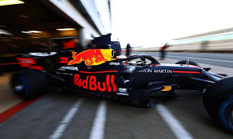 Max Verstappen's RB16 leaves the garage at Silverstone