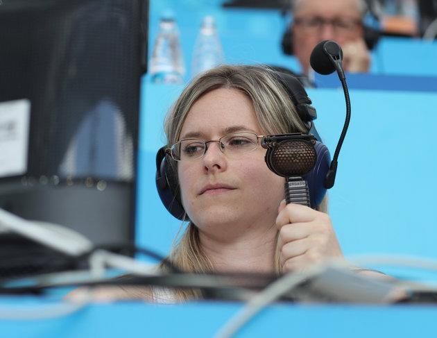 Vicki in the commentary box at Moscow's Luzhniki Stadium