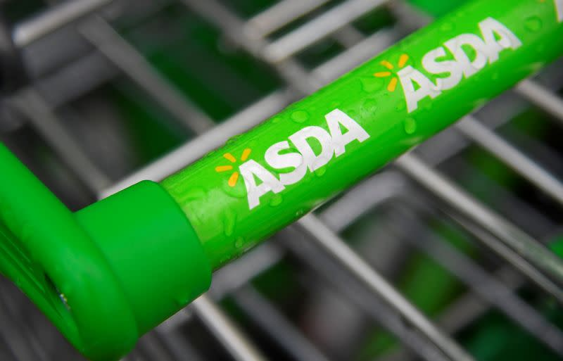 FILE PHOTO: Branding is seen on a shopping trolley at an Asda store in west London, Britain
