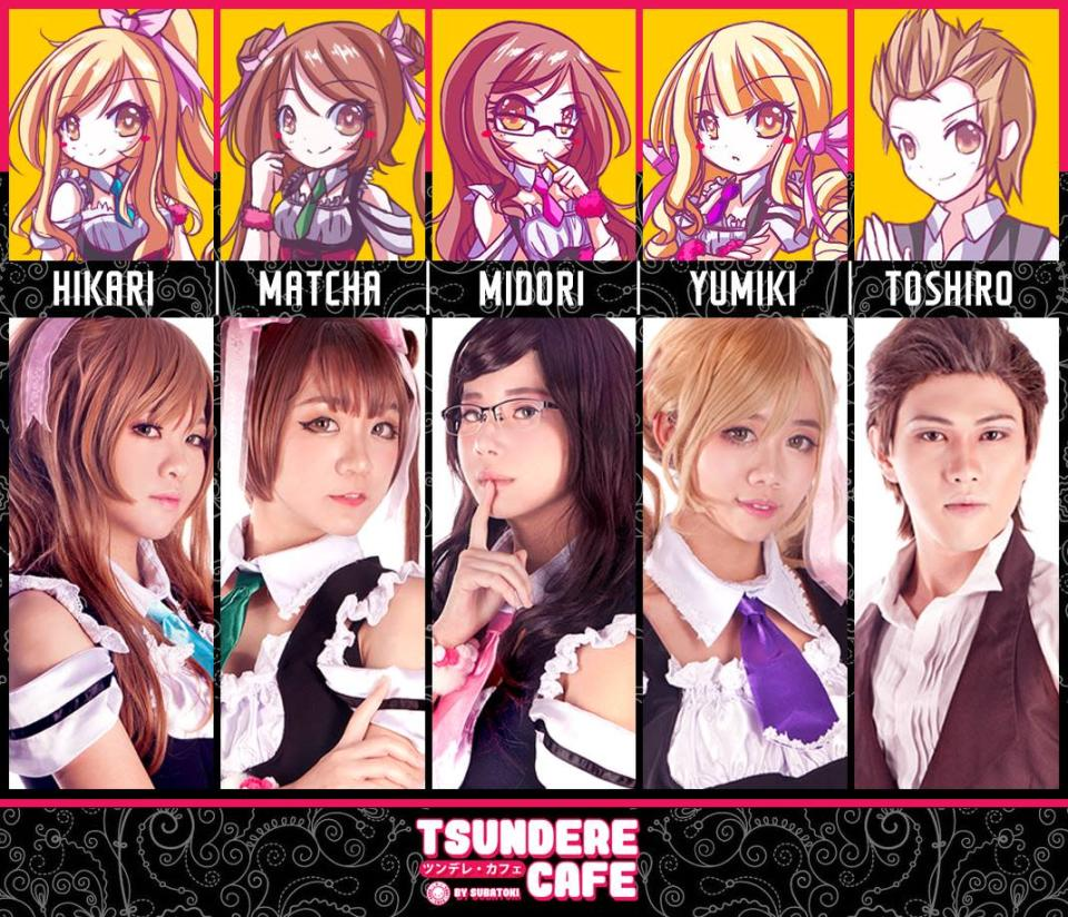 Five wait staff dressed in cosplay-style will be serving and hurling insults at customers at the Tsundere Cafe event. (Photo: SubaToki Cafe)