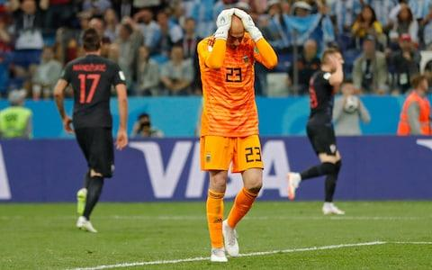 Caballero has no-one to blame but himself for the Croatia goal - Credit: AP / Ricardo Mazalan
