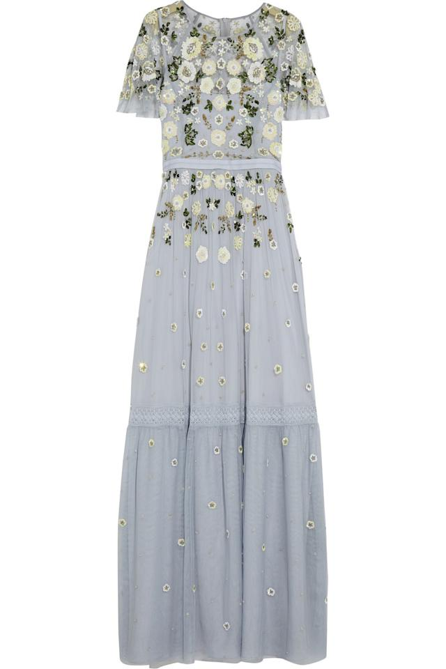 "<p>Look effortlessly chic in this embellished tulle gown. it's pale-blue colour and British floral detail is bound to make you feel like a Princess. <i><a href=""https://www.net-a-porter.com/gb/en/product/706339/Needle_and_Thread/embellished-tulle-gown"">[Needle And Thread,£275]</a></i></p>"