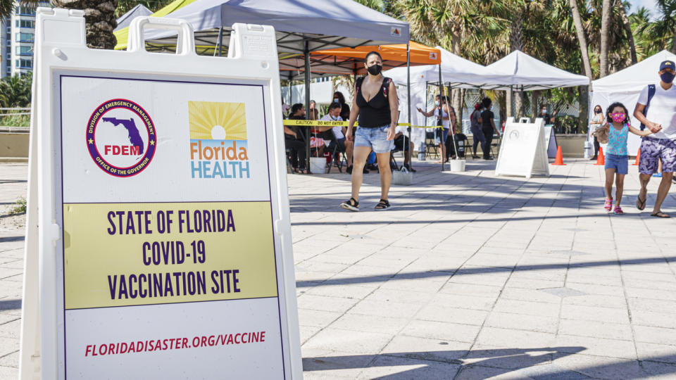 Florida, Miami Beach, Covid-19 vaccination site, FDEM. (Jeff Greenberg/Universal Images Group via Getty Images)