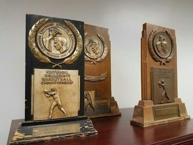 Some of the old trophies that Mark Slessinger pulled out of the storage shed. (via Mark Slessinger)