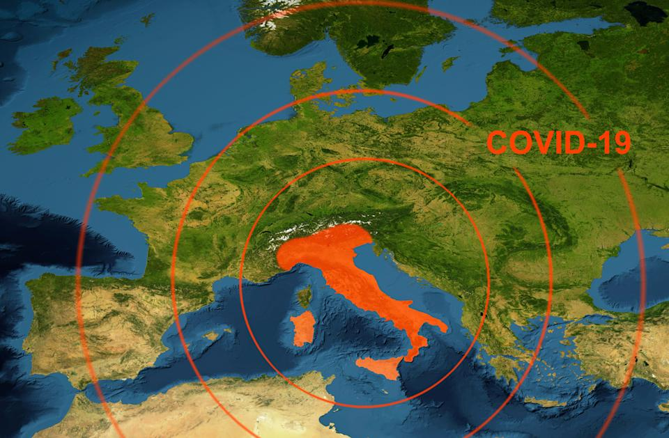 Coronavirus epidemic, word COVID-19 on Europe map. Novel coronavirus outbreak in Italy, the spread of corona virus in the World. COVID-19 infection concept. Elements of this image furnished by NASA. (Photo: scaliger via Getty Images)