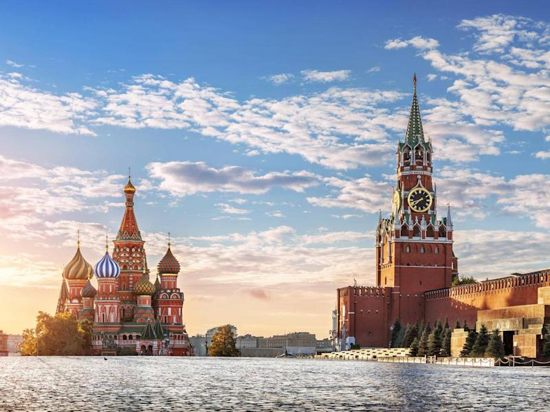 St Basil's cathedral and Spasskaya Tower on Red Square (Getty)