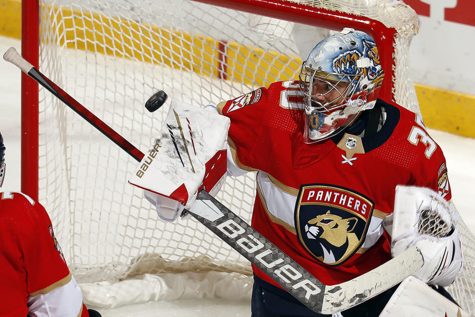 Goaltender Spencer Knight #30 of the Florida Panthers