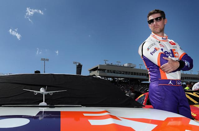 Denny Hamlin raced barefoot and won NASCAR's first virtual race. (Photo by Christian Petersen/Getty Images)