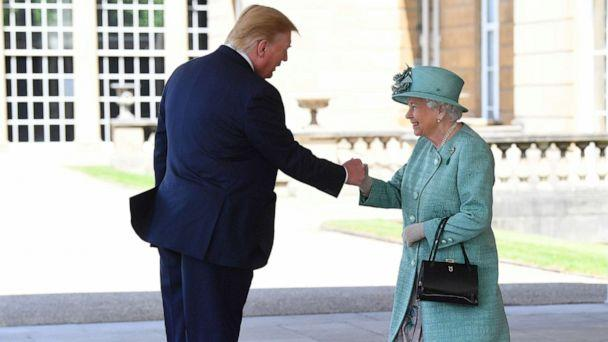PHOTO: Britain's Queen Elizabeth II greets President Donald Trump as he arrives for the Ceremonial Welcome at Buckingham Palace, in London, June 3, 2019. (Victoria Jones/Pool via Reuters)