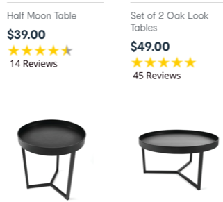 The Kmart coffee tables before their luxe makeover. Photo: Kmart.