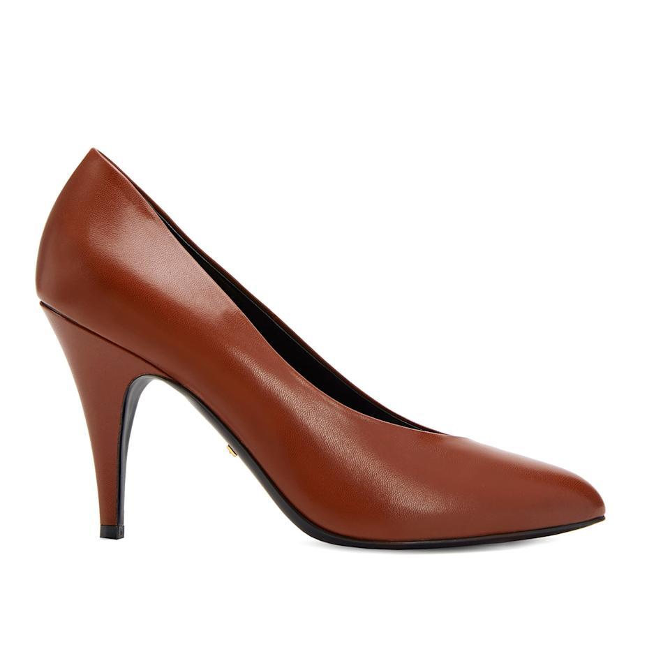 """<p>Update your classic pump collection with this rounded 80's shape.</p> <p><strong>Buy Now:</strong> Gucci, brown leather pump with 3.7"""" heel, $695, <a href=""""https://www.gucci.com/us/en/pr/women/womens-shoes/womens-pumps/womens-high-heels-pumps/leather-pump-p-589769C9D002829?position=15&listName=ProductGrid&categoryPath=Women/Womens-Shoes"""">gucci.com</a></p>"""