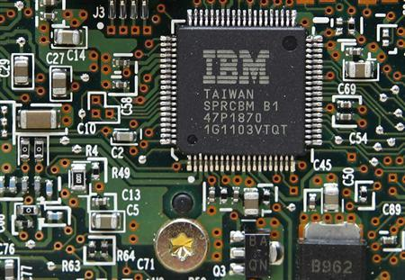 An IBM Central Processor Unit is seen on a Hard Disk Drive controller in Kiev