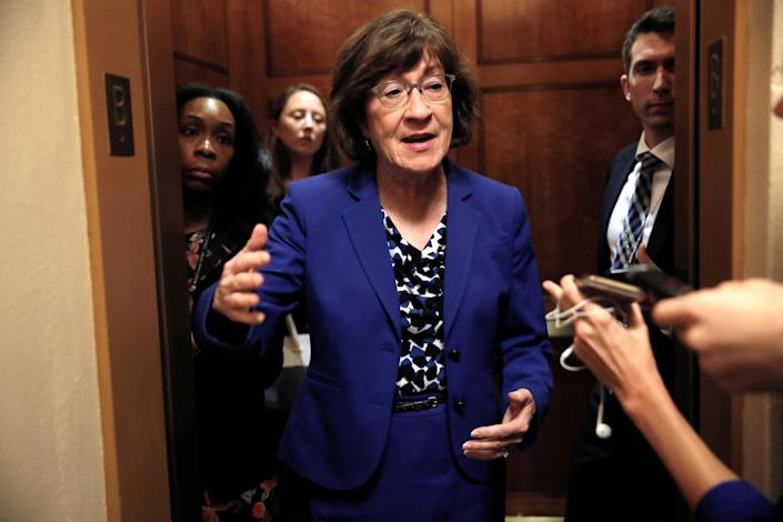 Sen. Susan Collins, R-Maine, talks to reporters about the Supreme Court nomination of Brett Kavanaugh in the wake of a woman's accusation that Kavanaugh sexually assaulted her 36 years ago. (Photo: Mike Segar/Reuters)