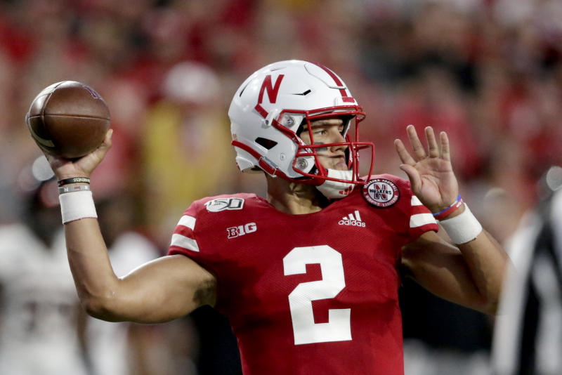 Nebraska quarterback Adrian Martinez (2) throws a pass during the first half of an NCAA college football game against Northern Illinois in Lincoln, Neb., Saturday, Sept. 14, 2019. (AP Photo/Nati Harnik)