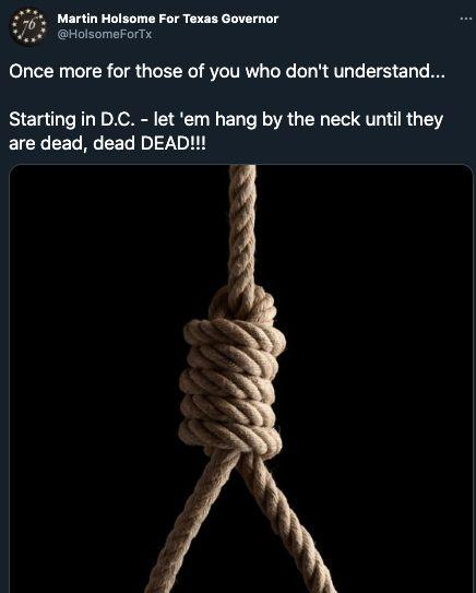 Martin Holsome, a city councilman in a small Texas town, posted a photo of a noose on his Twitter account, calling for killing people in Washington, D.C. (Photo: Twitter)