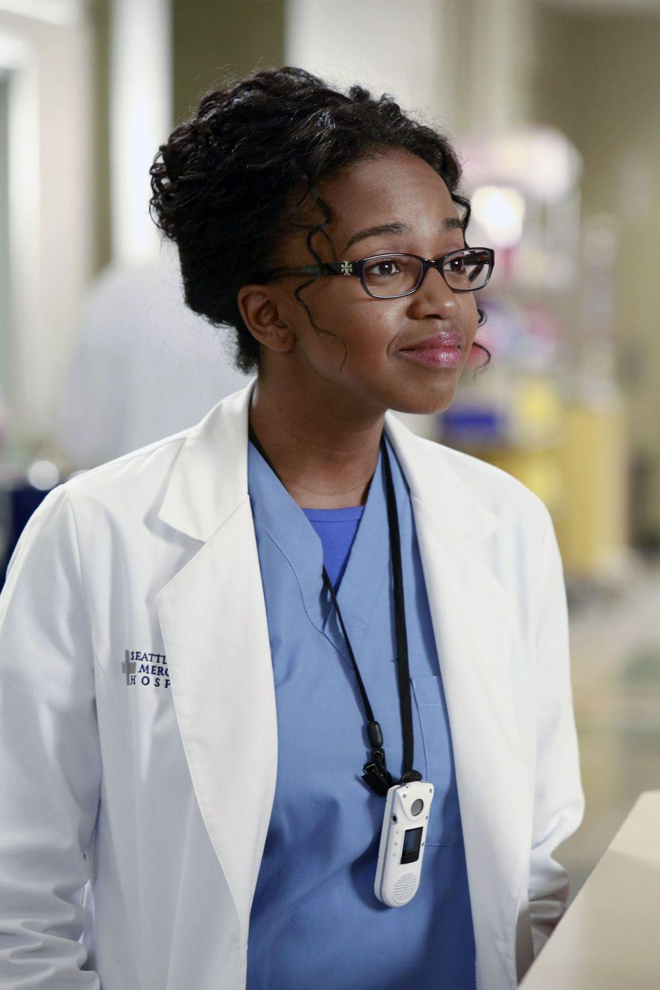 <p>Jerrika Hinton joined <em>Grey's</em> in season 9 as Stephanie Edwards, a member of the hospital's first new group of interns after the devastating plane crash in season 8. </p>