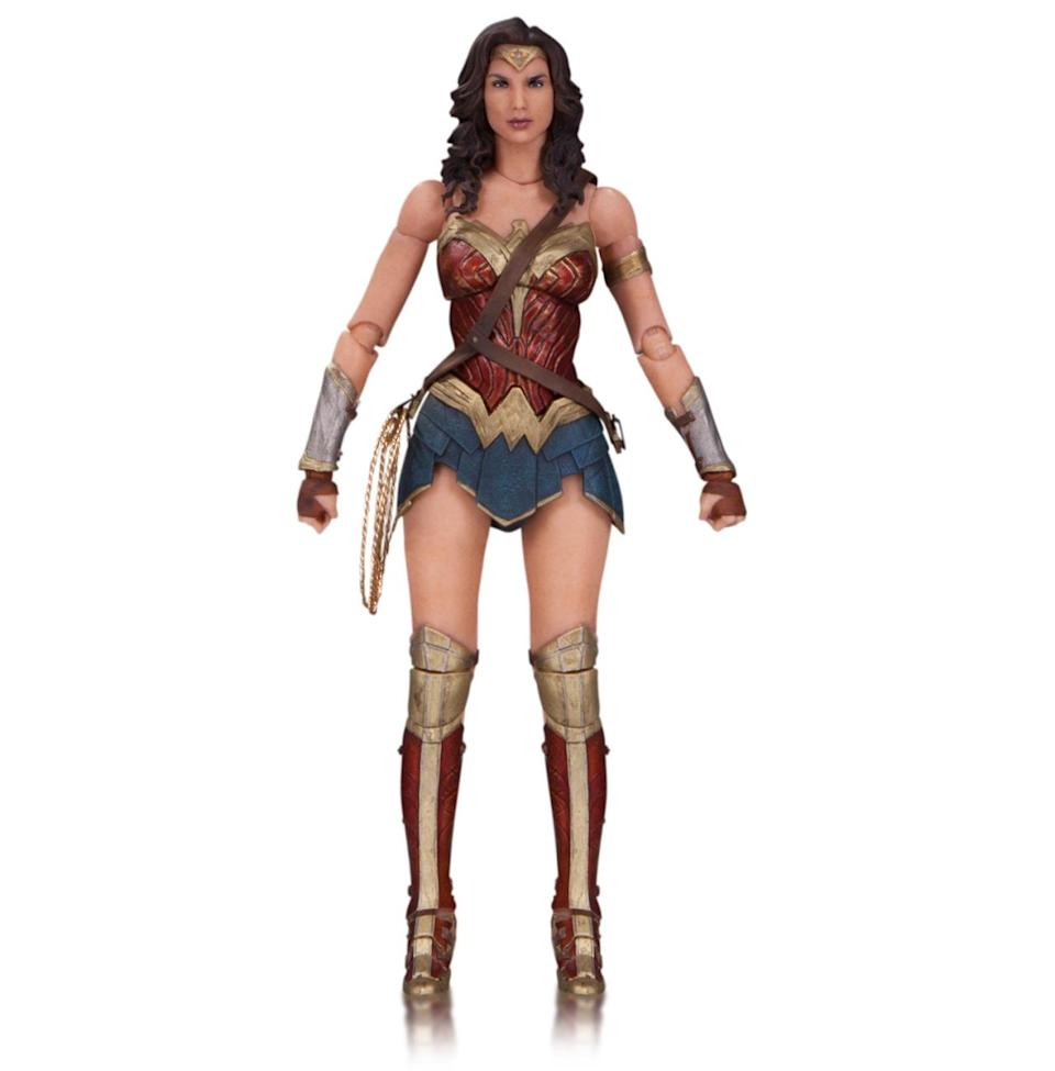 <p>The third member of DC's Trinity, played by Gal Gadot, is primed for battle, with her sword, shield, and golden lariat, along with interchangeable hands. <i>(Available in November; $45)</i></p><p><i><br></i></p>
