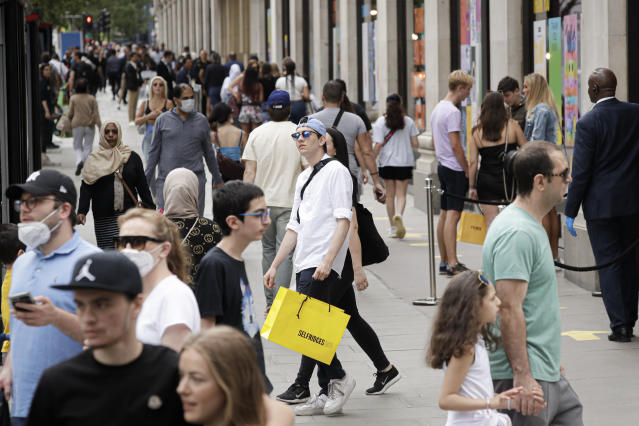 Non-essential shops reopened in England on Monday. (AP)