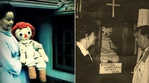 Lorraine Warren with the demonic Raggedy Ann who'd end up behind glass in her museum