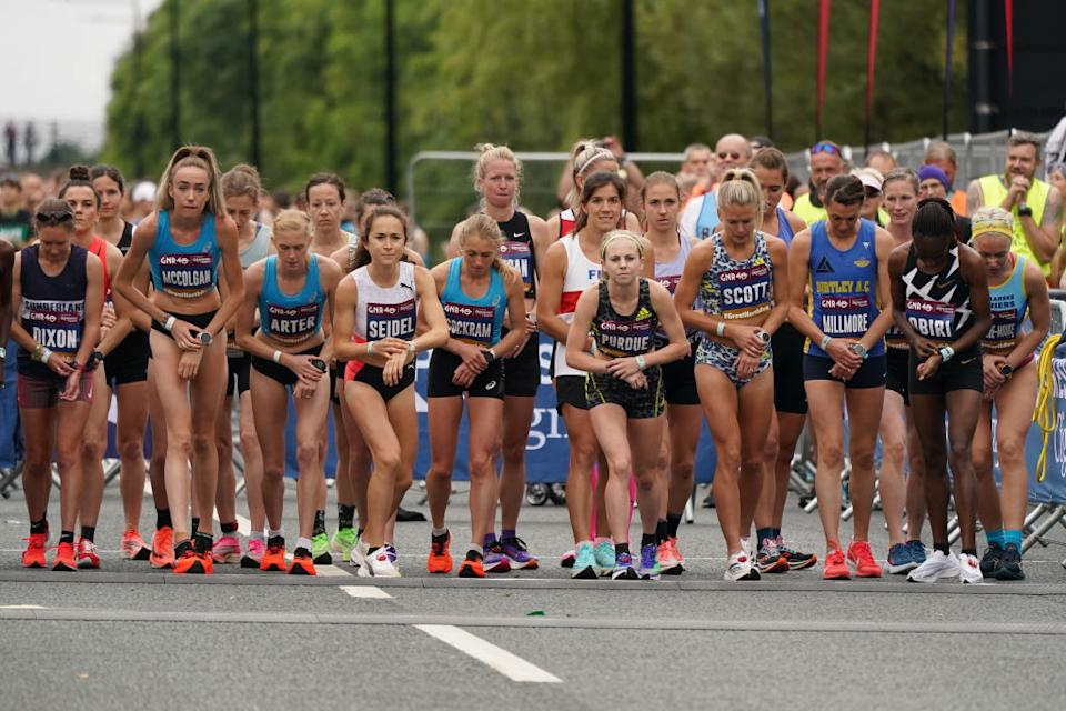 Competitors poised at the start of the Elite Women's race during the 40th Great North Run in Newcastle upon Tyne, England.