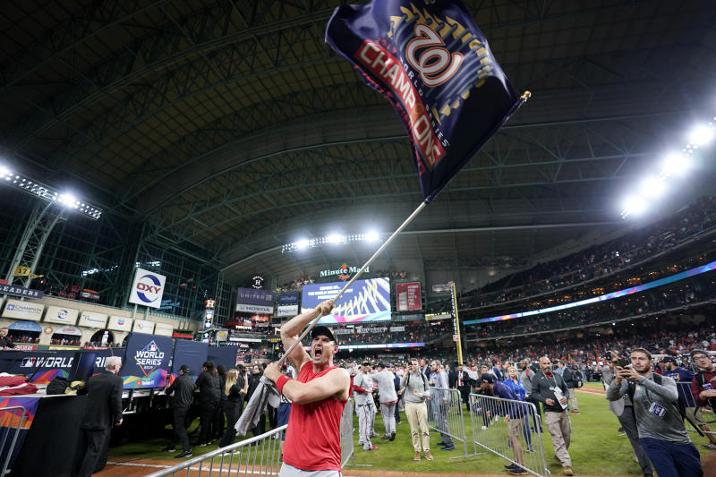 Washington Nationals first baseman Ryan Zimmerman celebrates after Game 7 of the baseball World Series against the Houston Astros Wednesday, Oct. 30, 2019, in Houston. The Nationals won 6-2 to win the series. (AP Photo/David J. Phillip)