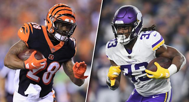 "<a class=""link rapid-noclick-resp"" href=""/nfl/players/30161/"" data-ylk=""slk:Joe Mixon"">Joe Mixon</a> vs. <a class=""link rapid-noclick-resp"" href=""/nfl/players/30154/"" data-ylk=""slk:Dalvin Cook"">Dalvin Cook</a> — who deserves your fantasy investment this season? (Photos by Andy Lyons/Billie Weiss/Getty Images)"