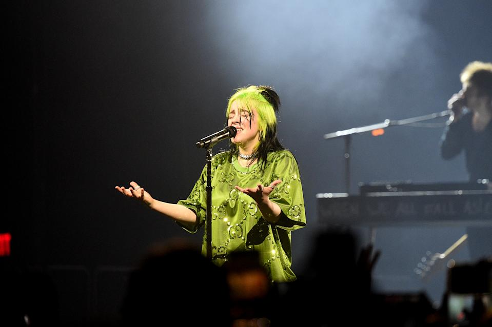 """Billie Eilish performs live on stage at Billie Eilish """"Where Do We Go?"""" World Tour Kick Off - Miami at American Airlines Arena on March 09, 2020 in Miami, Florida. (Photo by Kevin Mazur/Getty Images for Live Nation)"""