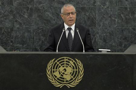Libyan Prime Minister Ali Zeidan speaks at the 68th United Nations General Assembly in New York
