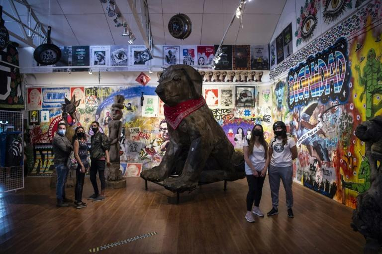 Street art on display at the Museum of the Social Uprising in Santiago captures the anger of Chile's anti-government protests in November 2020