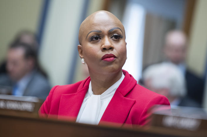 Rep. Ayanna Pressley, D-Mass., attends the House Oversight and Reform Committee hearing on Coronavirus Preparedness and Response, in Rayburn Building on Wednesday, March 11, 2020. (Tom Williams/CQ-Roll Call, Inc via Getty Images)