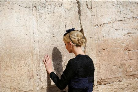 Ivanka Trump touches the Western Wall, Judaism's holiest prayer site, in Jerusalem's Old City May 22, 2017. REUTERS/Ronen Zvulun
