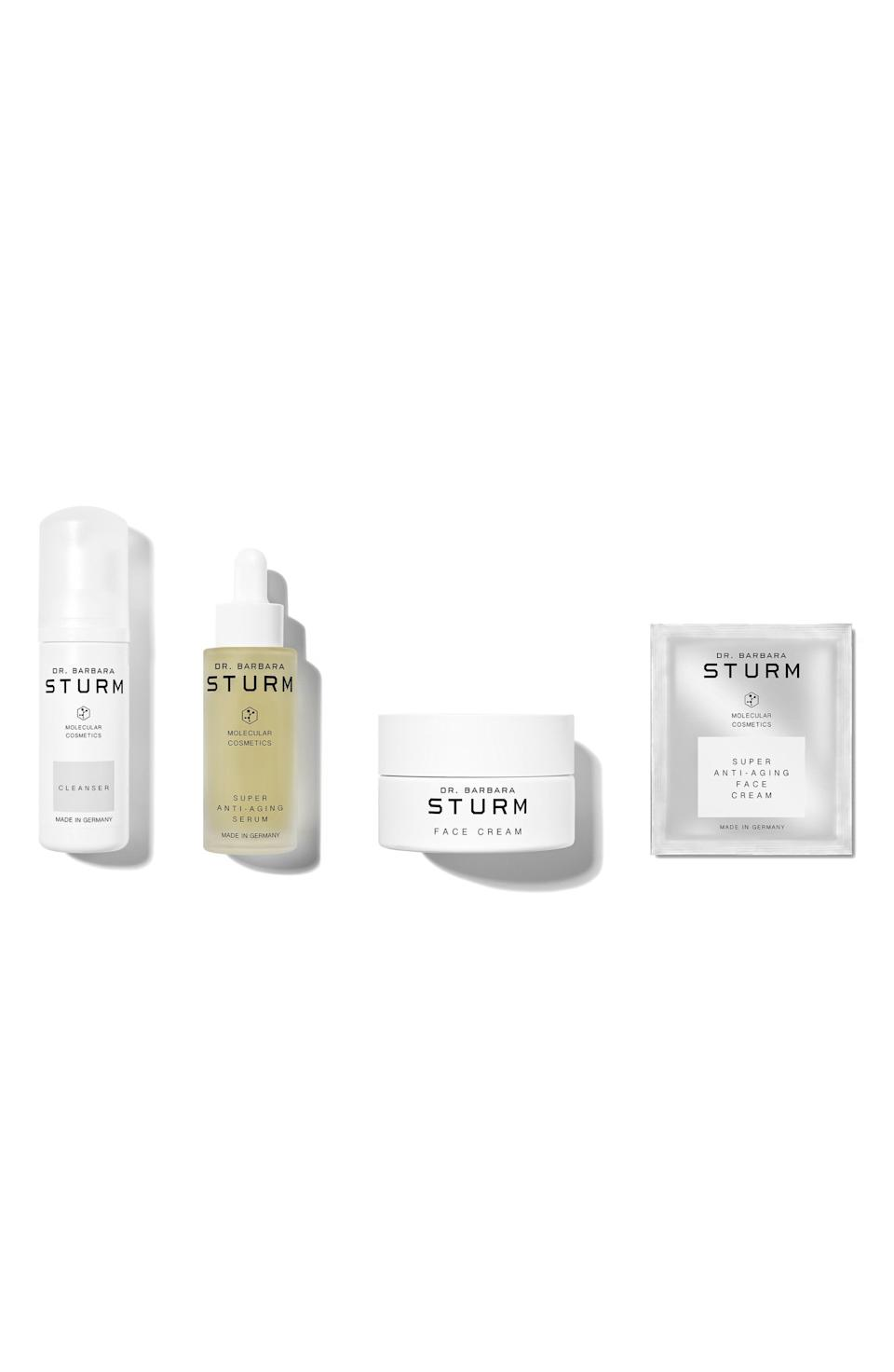 """<p><strong>Dr. Barbara Sturm</strong></p><p>nordstrom.com</p><p><strong>$275.00</strong></p><p><a href=""""https://go.redirectingat.com?id=74968X1596630&url=https%3A%2F%2Fwww.nordstrom.com%2Fs%2Fdr-barbara-sturm-super-anti-aging-serum-skin-care-set-455-value%2F5913794&sref=https%3A%2F%2Fwww.elle.com%2Fbeauty%2Fg36944650%2Fnorstrom-anniversary-beauty-sale-2021%2F"""" rel=""""nofollow noopener"""" target=""""_blank"""" data-ylk=""""slk:Shop Now"""" class=""""link rapid-noclick-resp"""">Shop Now</a></p><p>Just because aging is hard, doesn't mean it can't also be fun. Dr. Barbara Sturm makes skincare that all of your favorite celebrities are obsessed with, which means this is your change to actually get model skin.</p>"""