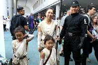 <p>Cosplayers dressed as Rey and an Imperial soldier from <em>Star Wars</em> at Comic-Con International on July 20 in San Diego. (Photo: Angela Kim/Yahoo Entertainment) </p>