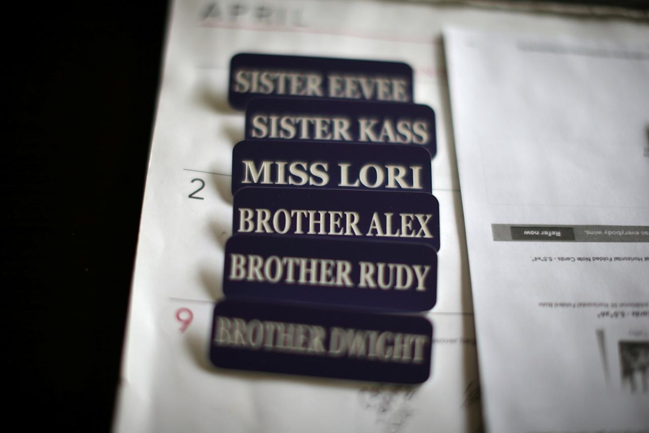 <p>Name badges are seen in the office of Sisters of the Valley near Merced, California, U.S., April 18, 2017. Picture taken April 18, 2017. Photo from Reuters </p>