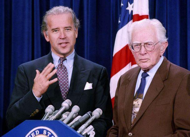 PHOTO: Sen. Joe Biden, D-Del., chairman of the Senate Judiciary Committee, and Sen. Howard Metzenbaum, D-Ohio, talk to reporters after the Senate passed the Brady bill by a 63-36 vote, on Capitol Hill in Washington, D.C., Nov. 20, 1993. (John Duricka/AP, FILE)