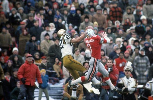 Ohio State Mike Sensibaugh (3) in action against Purdue at Ohio Stadium in Nov. 1969.